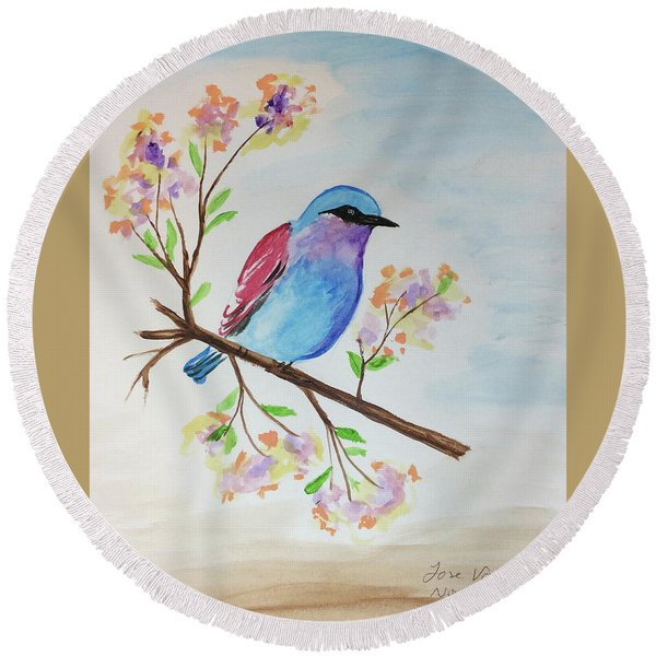 Chickadee On A Branch Round Beach Towel