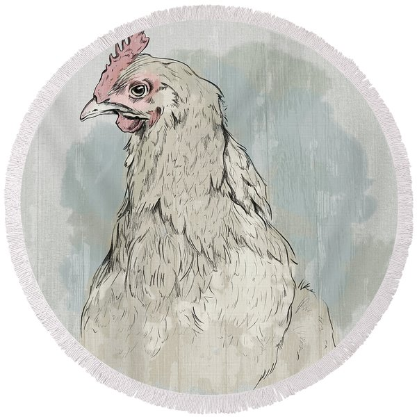 Chicken Portrait-farm Animals Round Beach Towel