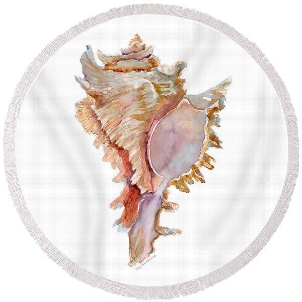 Chicoreus Ramosus Shell Round Beach Towel