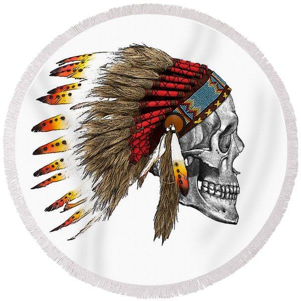 Chief Headdress On Human Skull Native American Art Round Beach Towel