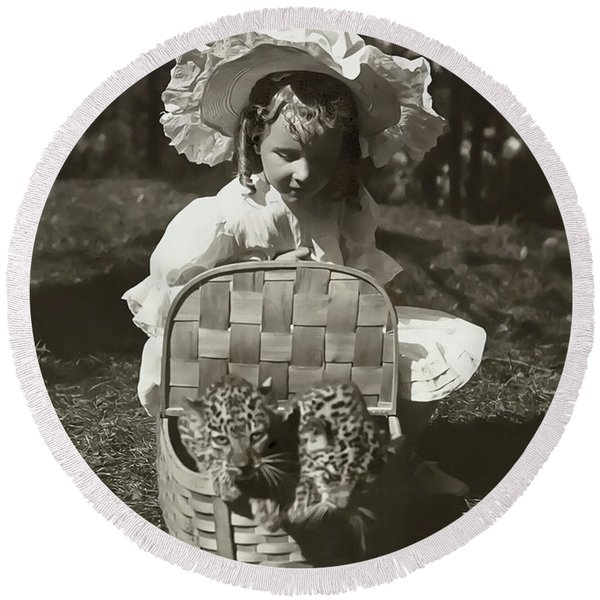 Child With Leopards 1907 Round Beach Towel