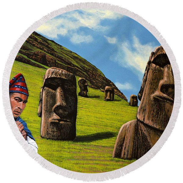 Chile Easter Island Round Beach Towel