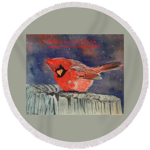 Chilly Bird Christmas Card Round Beach Towel
