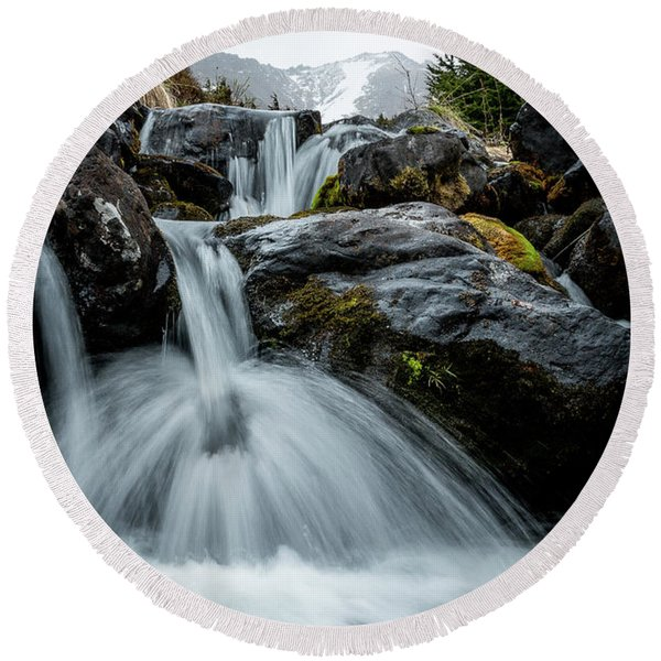 Round Beach Towel featuring the photograph Chilly Spring Shower by Tim Newton