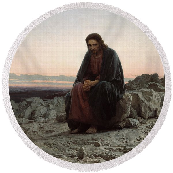 Christ In The Desert Round Beach Towel