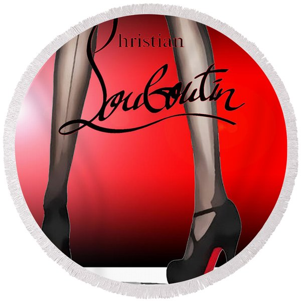 Christian Louboutin Poster Red Round Beach Towel