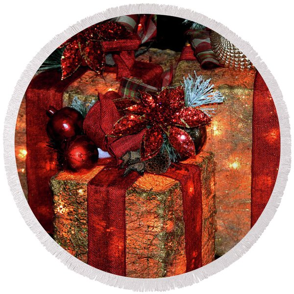 Christmas Packages 1 Round Beach Towel