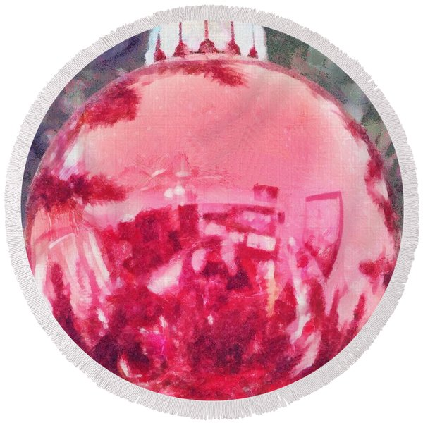 Christmas Reflected Round Beach Towel