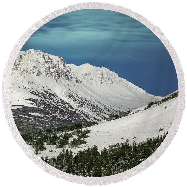 Round Beach Towel featuring the photograph Chugach Night by Tim Newton