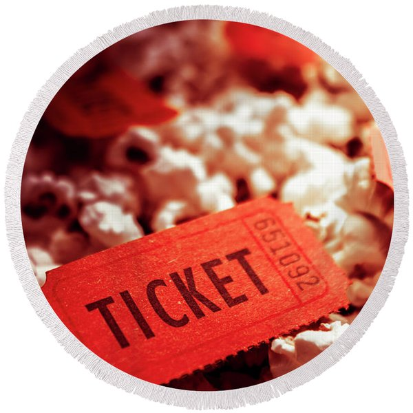 Cinema Ticket On Snackbar Food Round Beach Towel