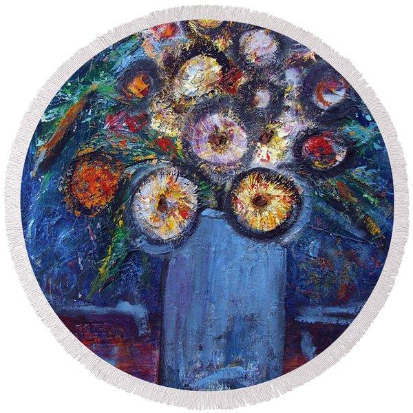 Circle Of Flowers Round Beach Towel