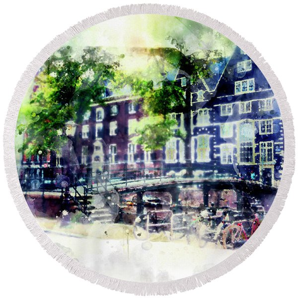 city life in watercolor style - Old Amsterdam  Round Beach Towel