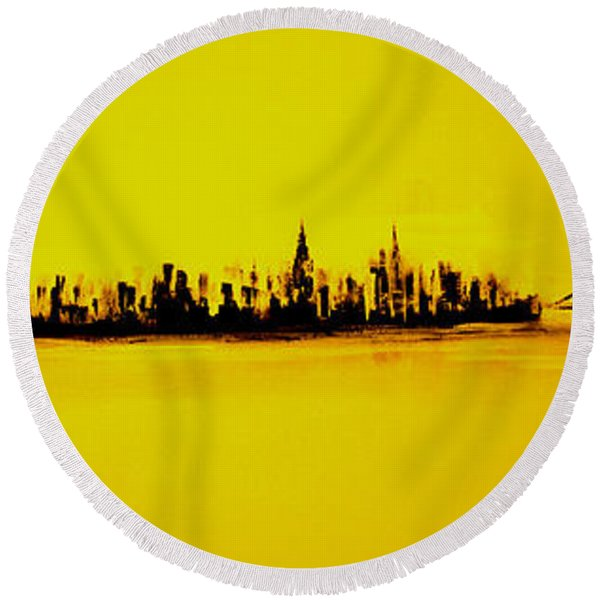 City Of Gold Round Beach Towel