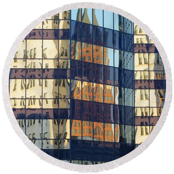 City Reflections 1 Round Beach Towel