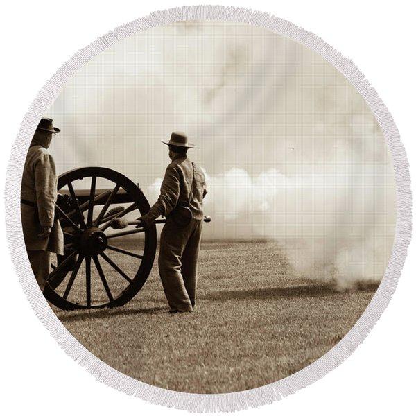 Civil War Era Cannon Firing  Round Beach Towel