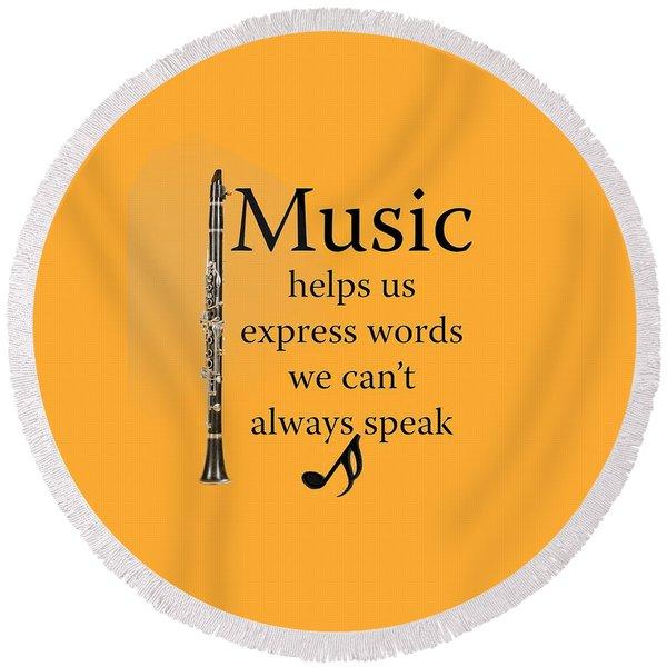 Clarinet Music Expresses Words Round Beach Towel
