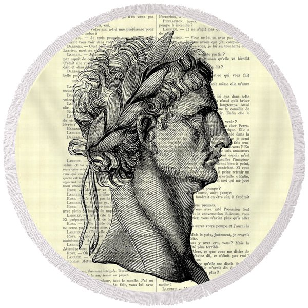 Claudius Caesar Black And White Portrait Round Beach Towel