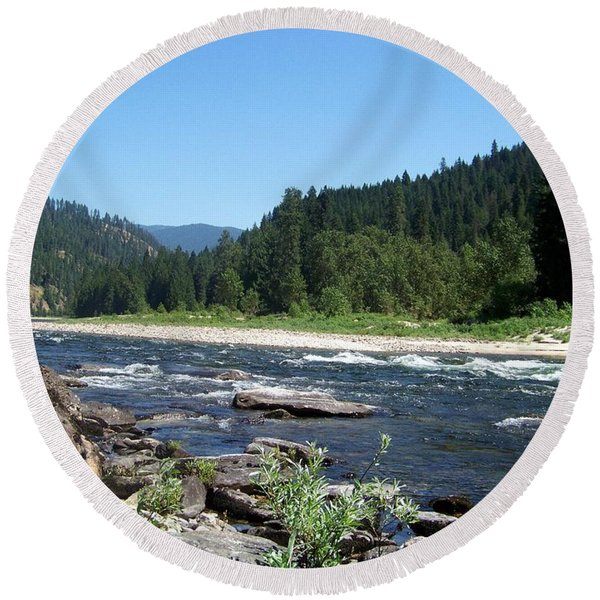 Clearwater River 2 Round Beach Towel