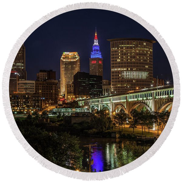 Round Beach Towel featuring the photograph Cleveland Nightscape by Lon Dittrick