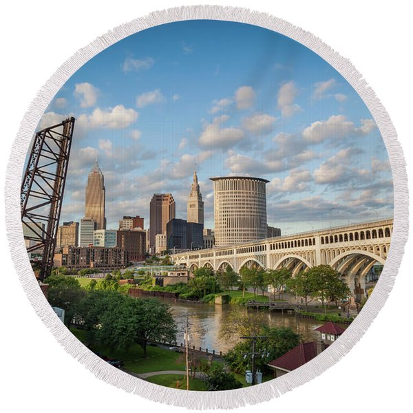Round Beach Towel featuring the photograph Cleveland Skyline Vista by Lon Dittrick