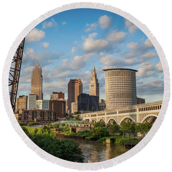 Round Beach Towel featuring the photograph Cleveland Summer Skyline  by Lon Dittrick