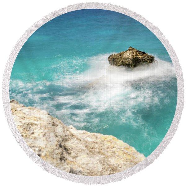 Cliff Views In Negril Round Beach Towel