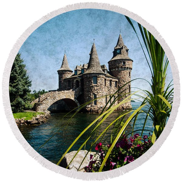 Boldt Castle Power House And Clock Tower Round Beach Towel