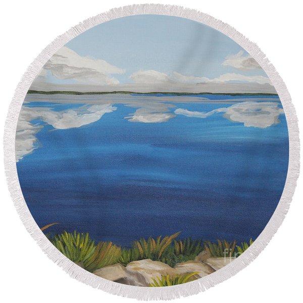 Cloud Lake Round Beach Towel
