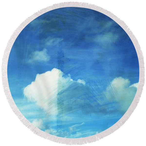Cloud Painting Round Beach Towel