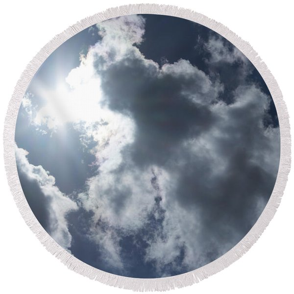 Round Beach Towel featuring the photograph Clouds And Sunlight by Megan Dirsa-DuBois