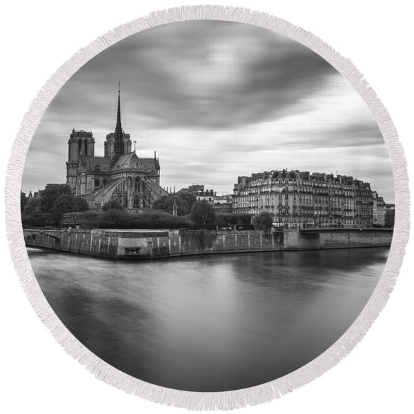 Cloudy Day On The Seine Round Beach Towel
