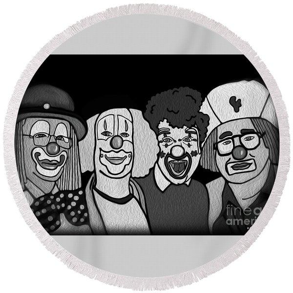 Round Beach Towel featuring the digital art Clowns Bw by Megan Dirsa-DuBois
