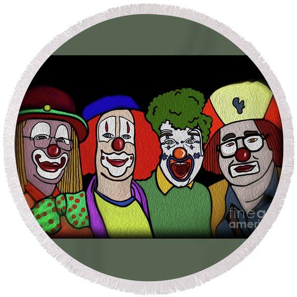 Round Beach Towel featuring the digital art Clowns by Megan Dirsa-DuBois