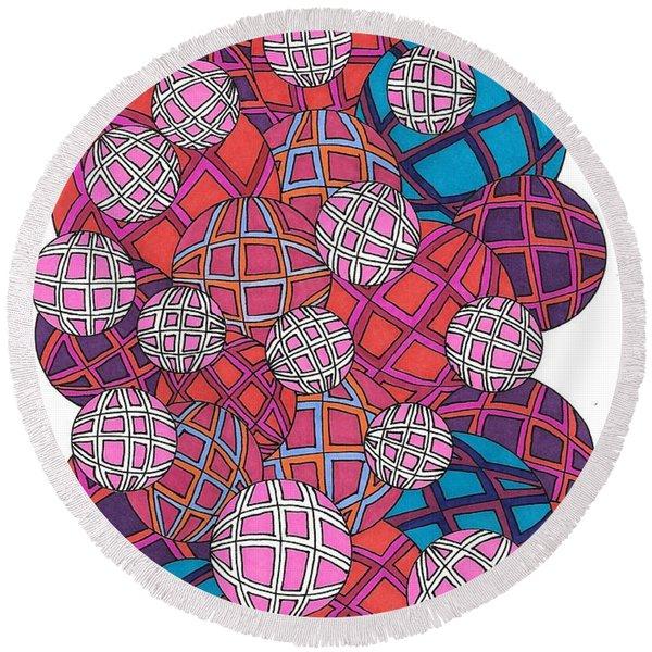 Cluster Of Spheres Round Beach Towel