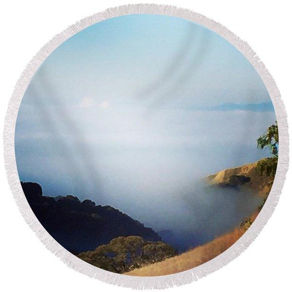 Coastal Fog Round Beach Towel