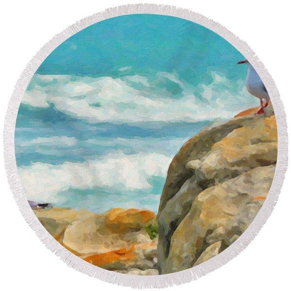 Coastal Rocks Round Beach Towel