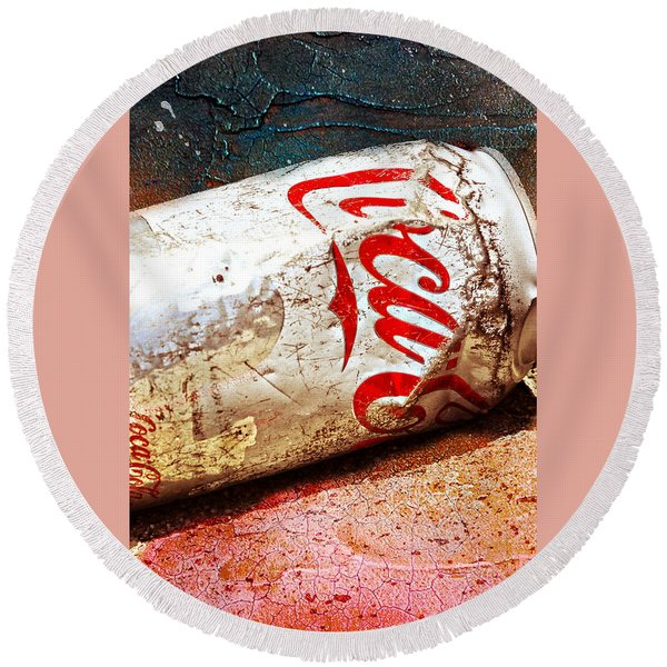 Round Beach Towel featuring the photograph Coca Cola On The Rocks By Mike-hope by Michael Hope