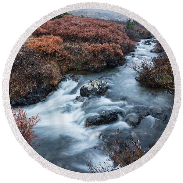 Round Beach Towel featuring the photograph Cold Creek In Autumn by Tim Newton