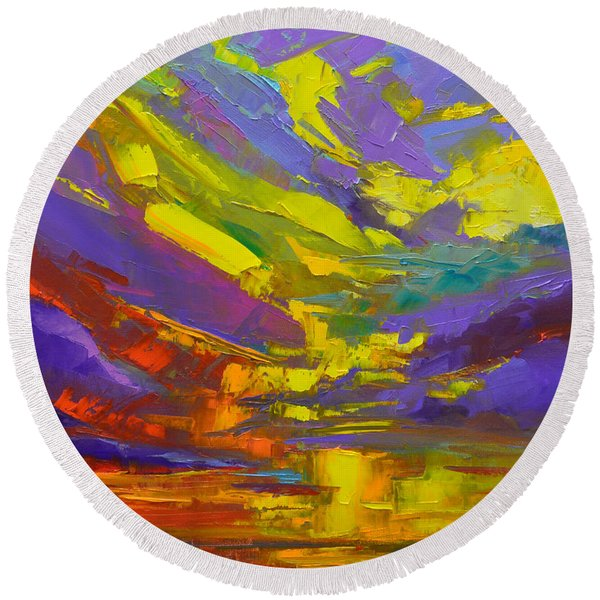 Coloful Sunset, Oil Painting, Modern Impressionist Art Round Beach Towel