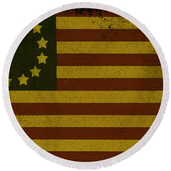 Round Beach Towel featuring the photograph Colonial Flag by Bill Cannon