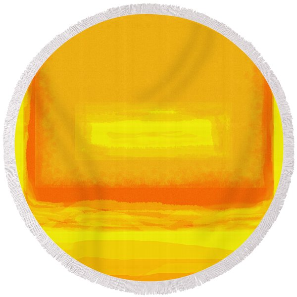 Color Field Sunset Yellow Round Beach Towel