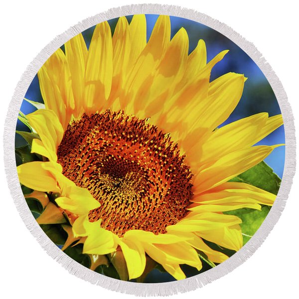 Color Me Happy Sunflower Round Beach Towel