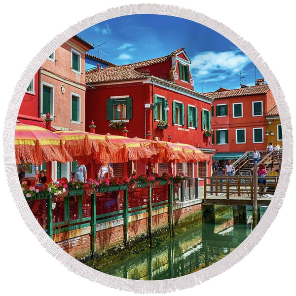 Colorful Day In Burano Round Beach Towel