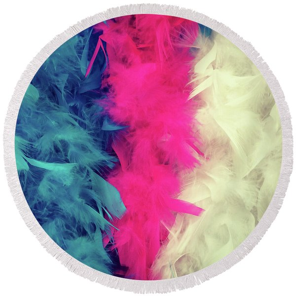 Colorful Feather Boa Round Beach Towel