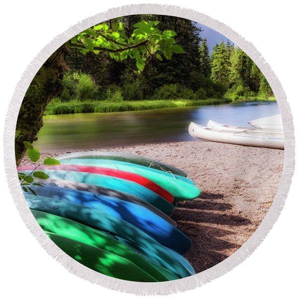 Colorful Kayaks Round Beach Towel