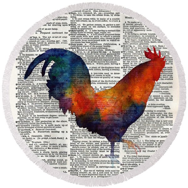Colorful Rooster On Vintage Dictionary Round Beach Towel