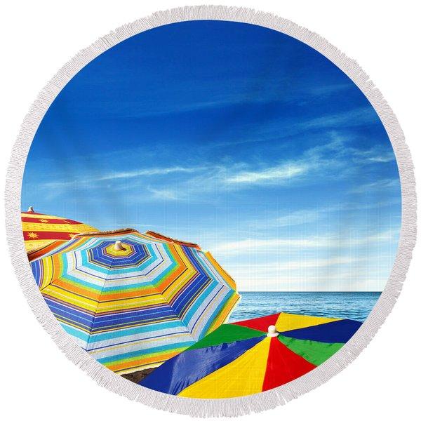 Colorful Sunshades Round Beach Towel