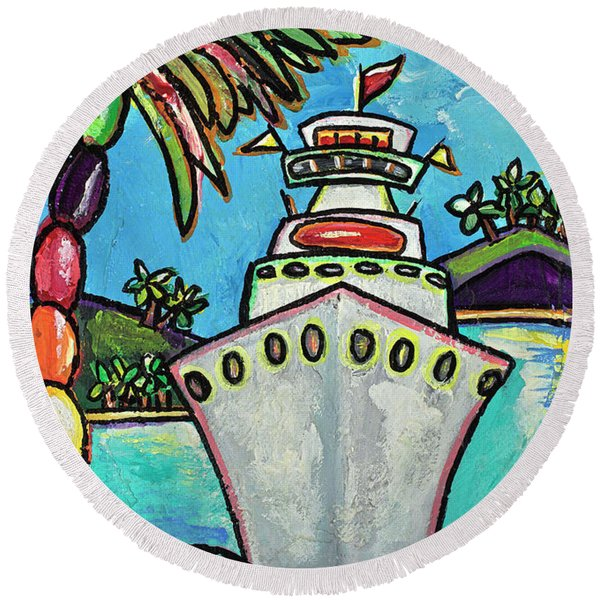 Colors Of Cruising Round Beach Towel