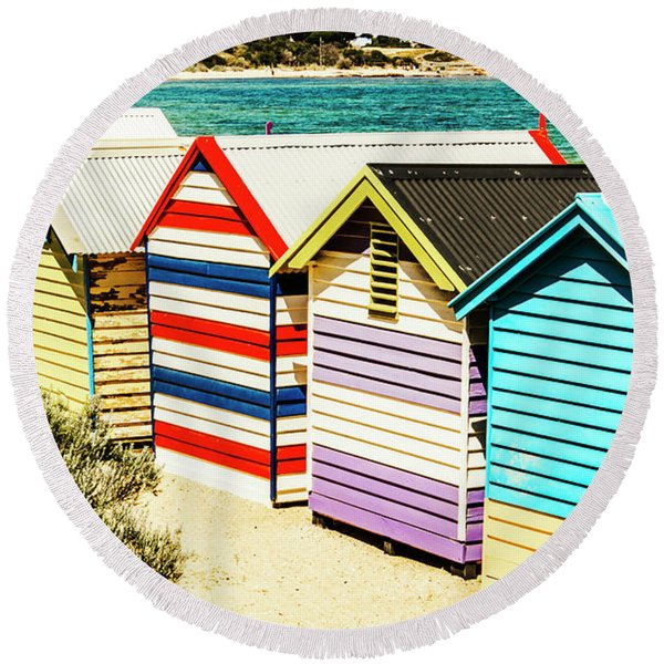 Colourful Bathing Sheds Round Beach Towel