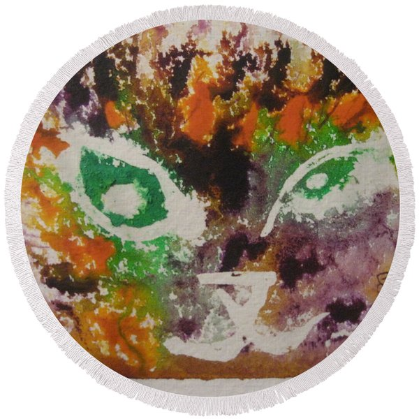 Colourful Cat Face Round Beach Towel